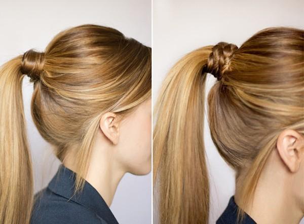 Bước 1: Buộc tóc thành kiểu tóc đuôi ngựa. Cố định tóc bằng dây thun hoặc gim tóc