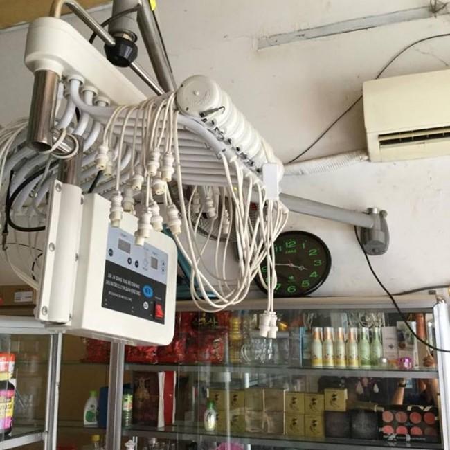 Hình ảnh thực tế của máy Setting dùng trong uốn nóng. Loại máy treo tường gồm 40 dây uốn nóng